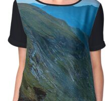 Mountain range at sunset Chiffon Top