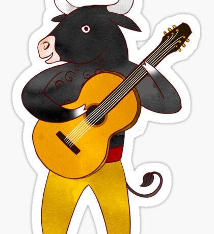 Spanish Bull playing Flamenco Guitar Sticker