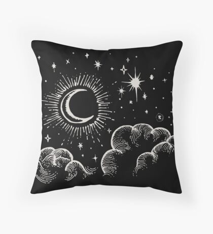 Crescent Moon and Stars Illustration Throw Pillow