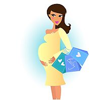 Cute pregnant Girl awaiting Baby - Boy holding Belly : 100 % original illustration Photographic Print