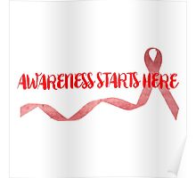 Awareness Starts Here - Red Poster