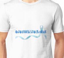 Awareness Starts Here - Blue Unisex T-Shirt