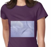 White fluffy feathers flying on blue  Womens Fitted T-Shirt