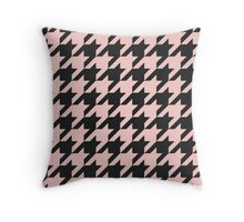 modern, houndstooth,pink,peach,black,trendy,girly,contemporary pattern Throw Pillow