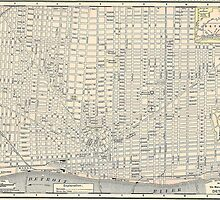 Vintage Map of Detroit (1895) by BravuraMedia