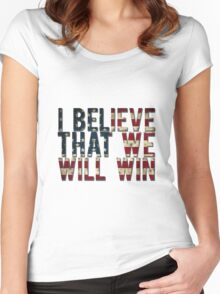 U.S.A I BELIEVE THAT WE WILL WIN !!!!!!!!! Women's Fitted Scoop T-Shirt