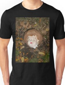 Creepy doll head with leaves Unisex T-Shirt
