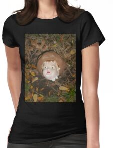 Creepy doll head with leaves Womens Fitted T-Shirt