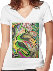 Infinite Intricate Patterns KRING Women's Fitted V-Neck T-Shirt