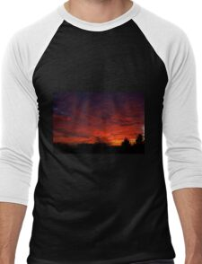 red sunset and trees silhouette in Warsaw  Men's Baseball ¾ T-Shirt