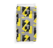 Geometrical abstract art deco mash-up gray yellow Duvet Cover