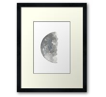 Crescent Moon Silver Blue Gray Watercolor Painting Poster Framed Print