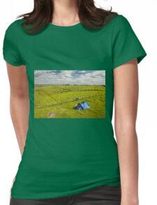 Camping tent and grass expanse landscape  Womens Fitted T-Shirt