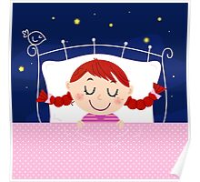 Cute sleeping Girl in Bed : Designers illustration art edition 2016 Poster