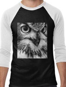 Black and White Owl Portrait Men's Baseball ¾ T-Shirt