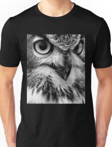 Black and White Owl Portrait Unisex T-Shirt