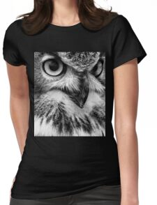 Black and White Owl Portrait Womens Fitted T-Shirt