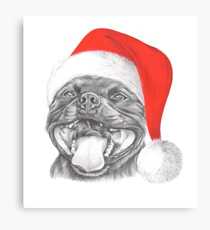 Staffie Smile Christmas - Staffordshire Bull Terrier Canvas Print
