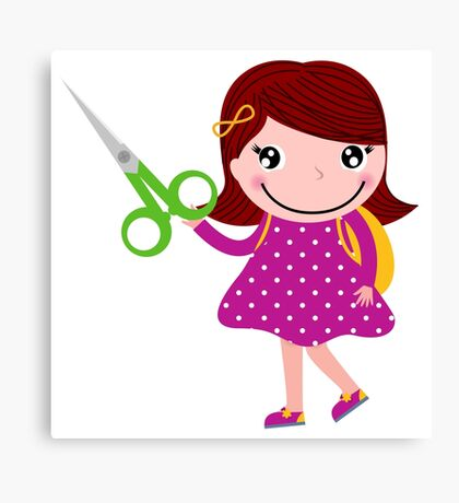 Little gIrl elegant designers edition. Girl with Scissors. Unique collection 2016 Canvas Print