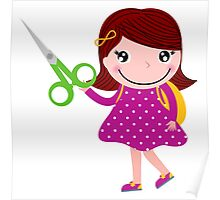 Little gIrl elegant designers edition. Girl with Scissors. Unique collection 2016 Poster