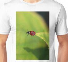 ladybug on green leaf Unisex T-Shirt