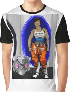 Chell and Her Companion Cube Graphic T-Shirt