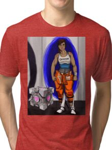 Chell and Her Companion Cube Tri-blend T-Shirt