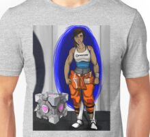 Chell and Her Companion Cube Unisex T-Shirt
