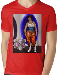Chell and Her Companion Cube Mens V-Neck T-Shirt