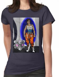 Chell and Her Companion Cube Womens Fitted T-Shirt