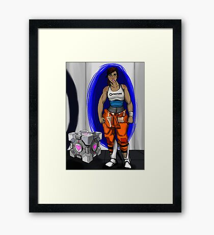 Chell and Her Companion Cube Framed Print