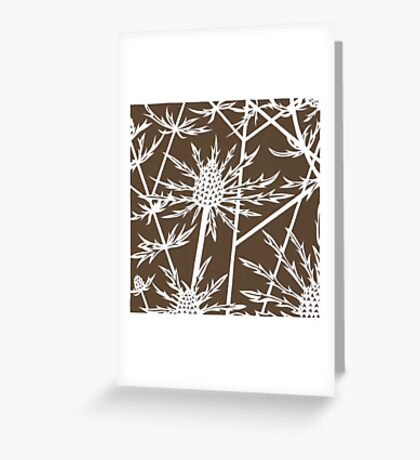 Paper art - Sea hollies on brown background Greeting Card