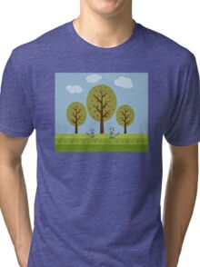 Cute Raccoons and Apple Trees Tri-blend T-Shirt