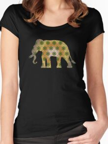 Elephant Psychedelic Animal Lover Nature Hippie Cool Wild Life Illustration Design T-Shirts Women's Fitted Scoop T-Shirt