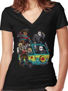 The Massacre Machine Horror Women's Fitted V-Neck T-Shirt