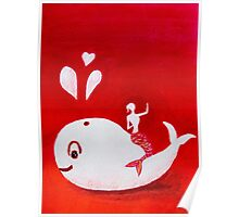 Full-moon Love - Two Loving Sea Creatures Poster