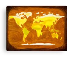 Map-World Map with Ocean Currents and Landscape Canvas Print