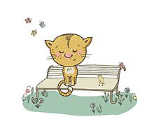 Cute cat and bird on a bench Photographic Print