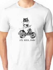 Cat biker in a cartoon style. Unisex T-Shirt