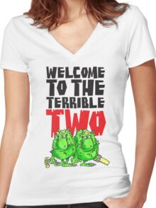 Graphic Terrible Two (white) Women's Fitted V-Neck T-Shirt