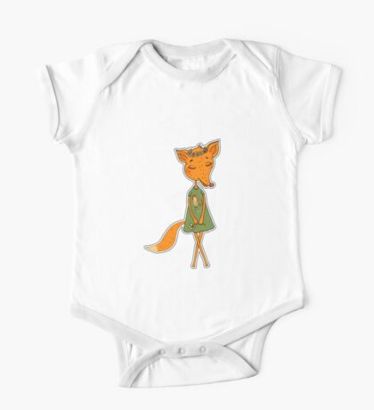 Cute Fox girl in a dress with a rooster One Piece - Short Sleeve