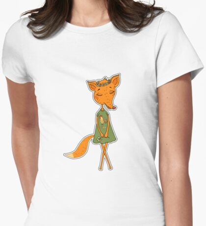 Cute Fox girl in a dress with a rooster Womens Fitted T-Shirt