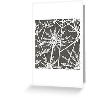 Paper art - Sea hollies on mocha background Greeting Card