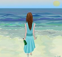 Woman Standing in Front of the Ocean with Bottle of Champagne and a Glass by ibadishi