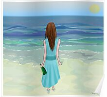 Woman Standing in Front of the Ocean with Bottle of Champagne and a Glass Poster
