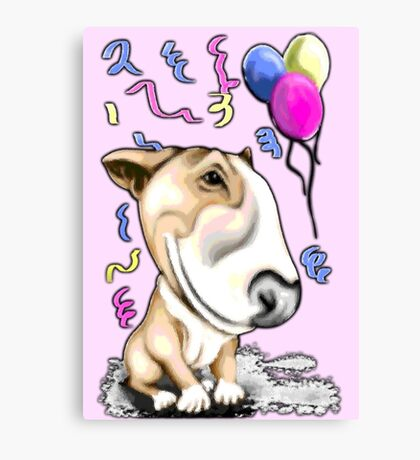 Party Bull Terrier Tan Canvas Print