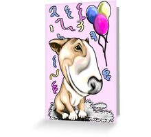 Party Bull Terrier Tan Greeting Card