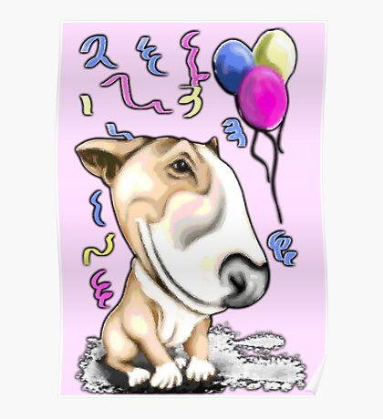 Party Bull Terrier Tan Poster