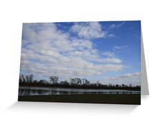 Blue and Green Lake Landscape Scene Greeting Card