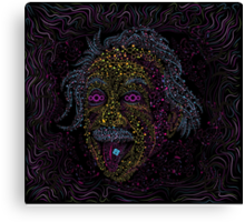 Acid Scientist tongue out psychedelic art poster Canvas Print